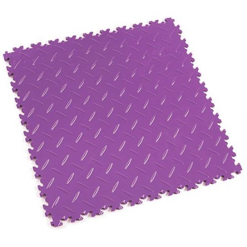 Purple Diamond Plate - Motolock Interlocking Floor Tile